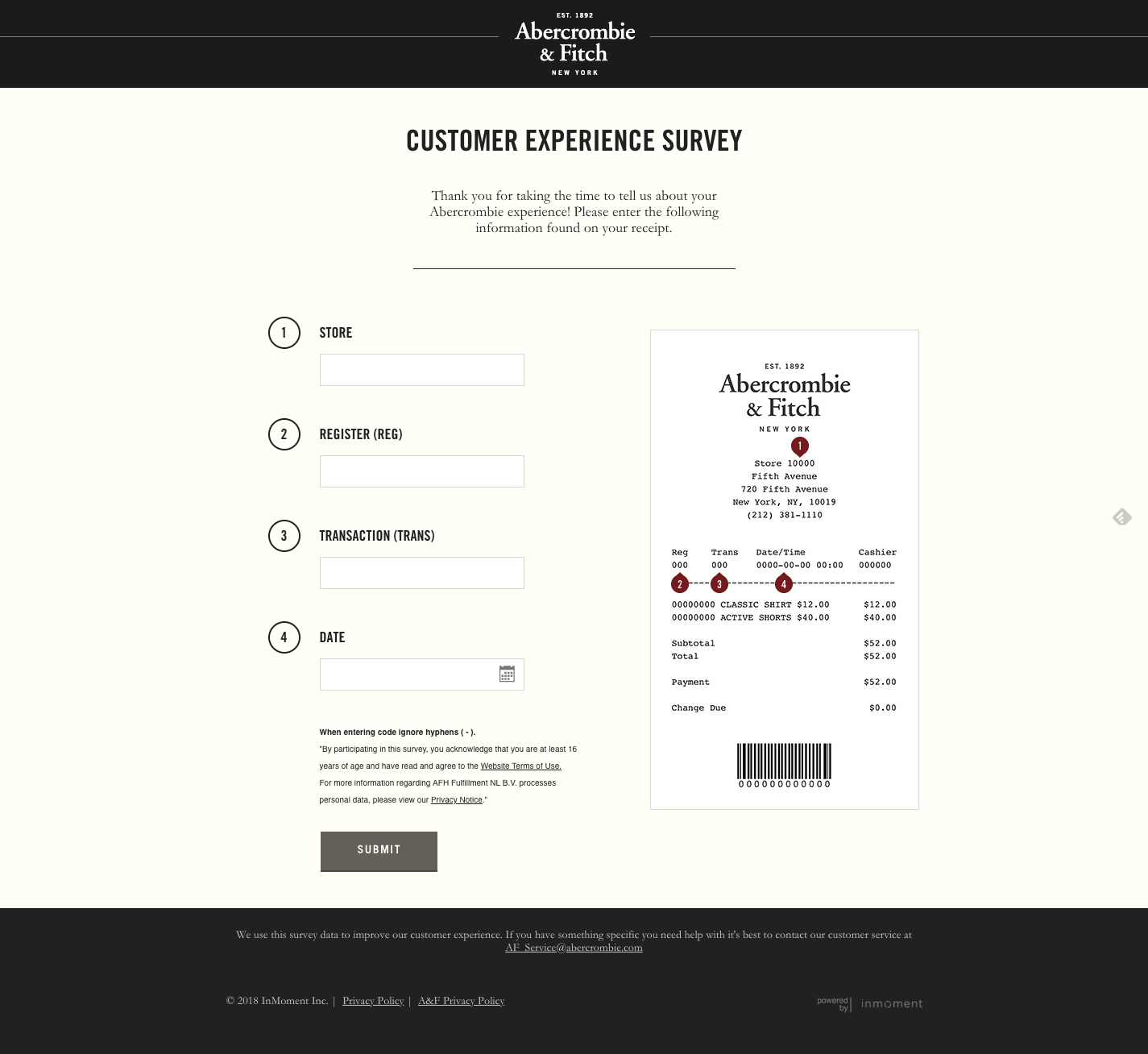 Abercrombie and Fitch survey