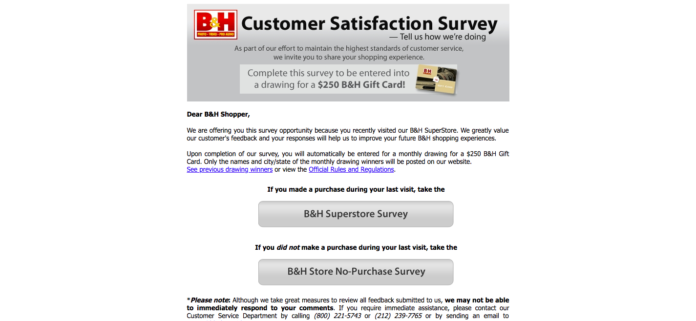 B and H Customer Service Survey