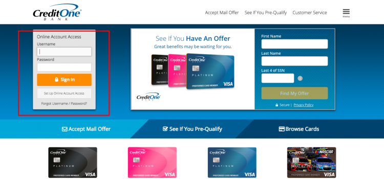 www.creditonebank.com – Credit One Bank Online Account Access