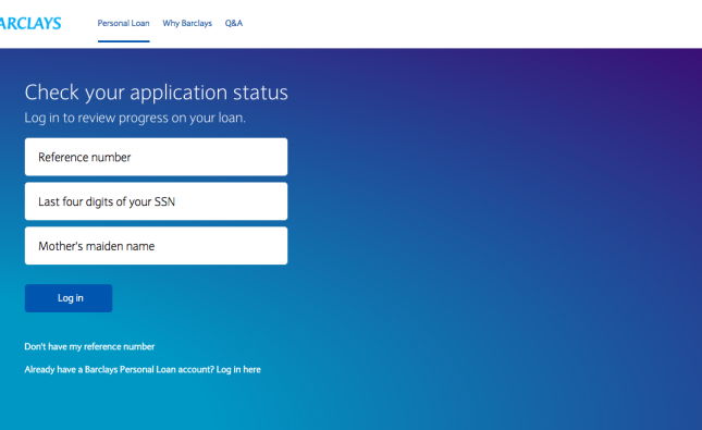 Login to the Barclays Personal Loan Application Center