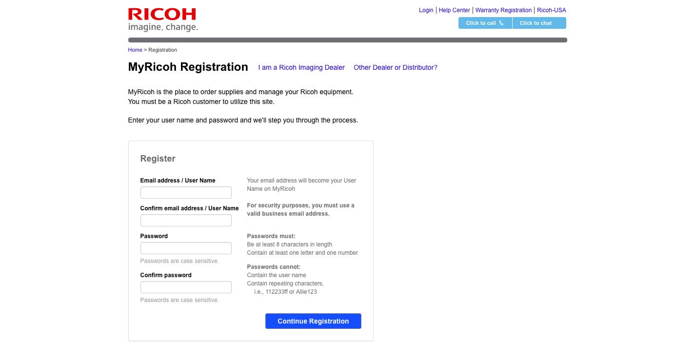 MyRicoh com Registration Ricoh USA