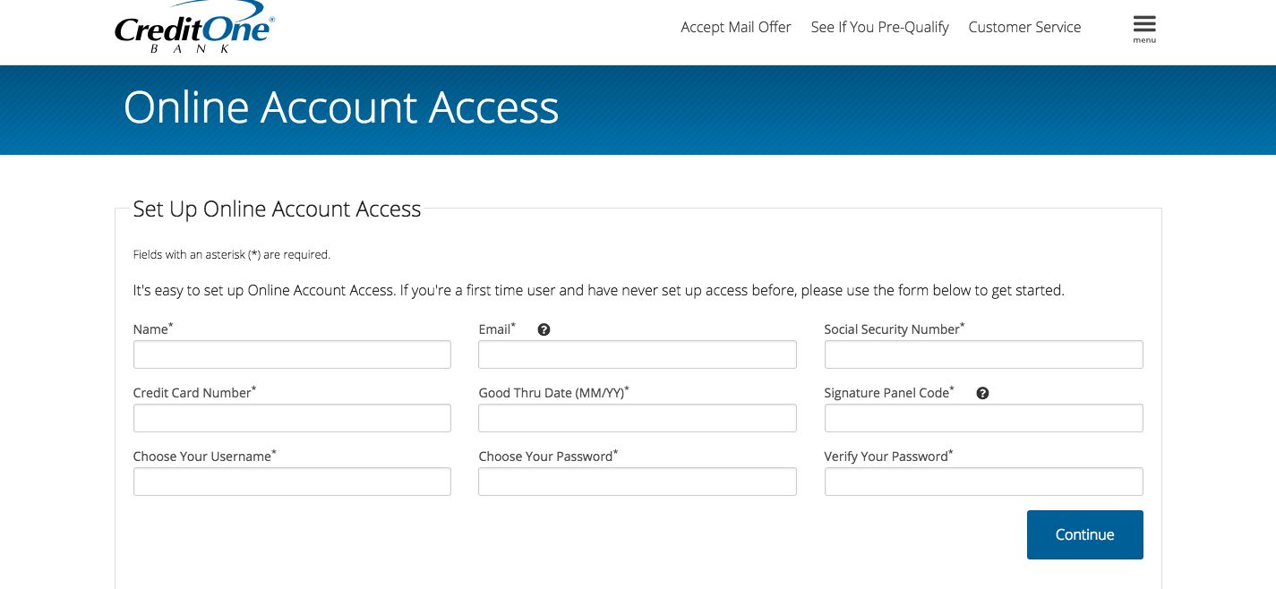 Set Up Your Online Account Credit One Bank