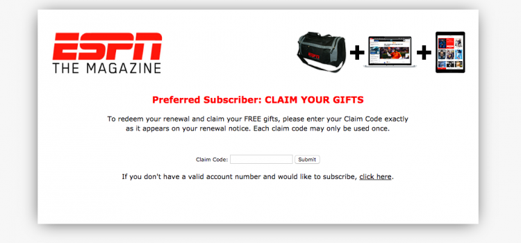www.espn.com/renewtm – ESPN The Magazine Special Offer