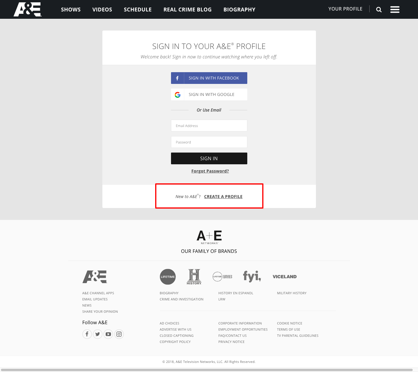 My Profile Register Login: A&E TV Registration And Activation