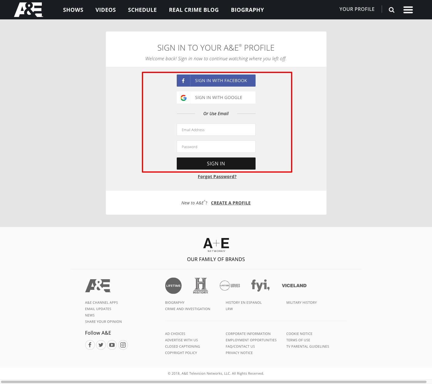 https www aetv com profile login
