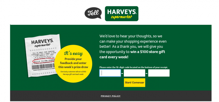 www.tellharveys.com – Harveys Supermarket Survey