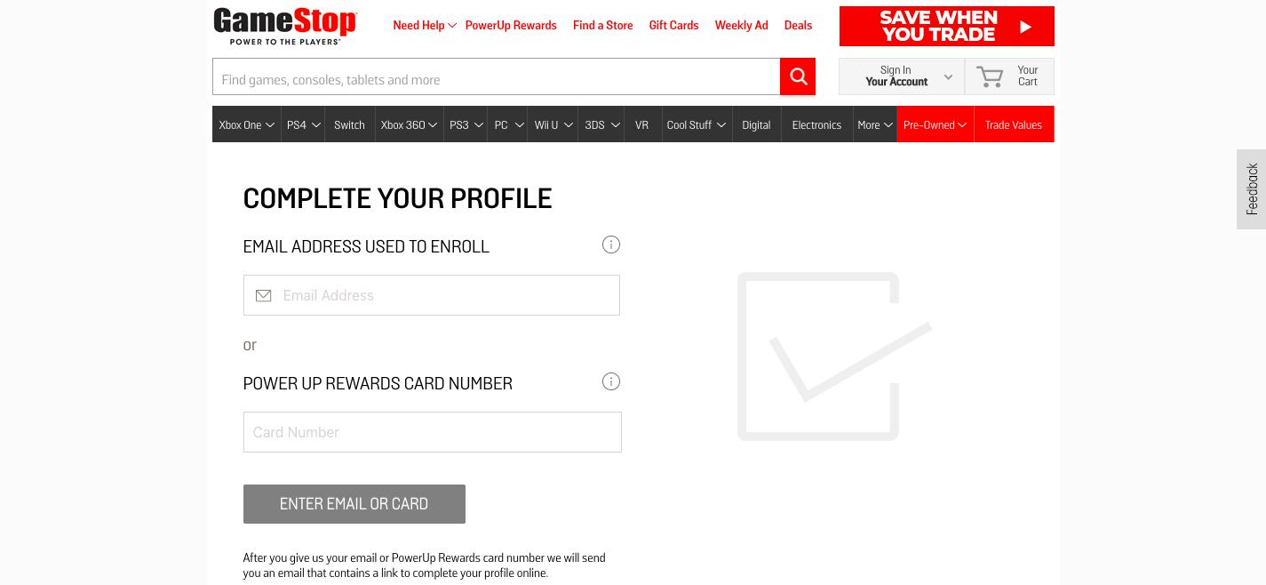 Complete Your Profile GameStop