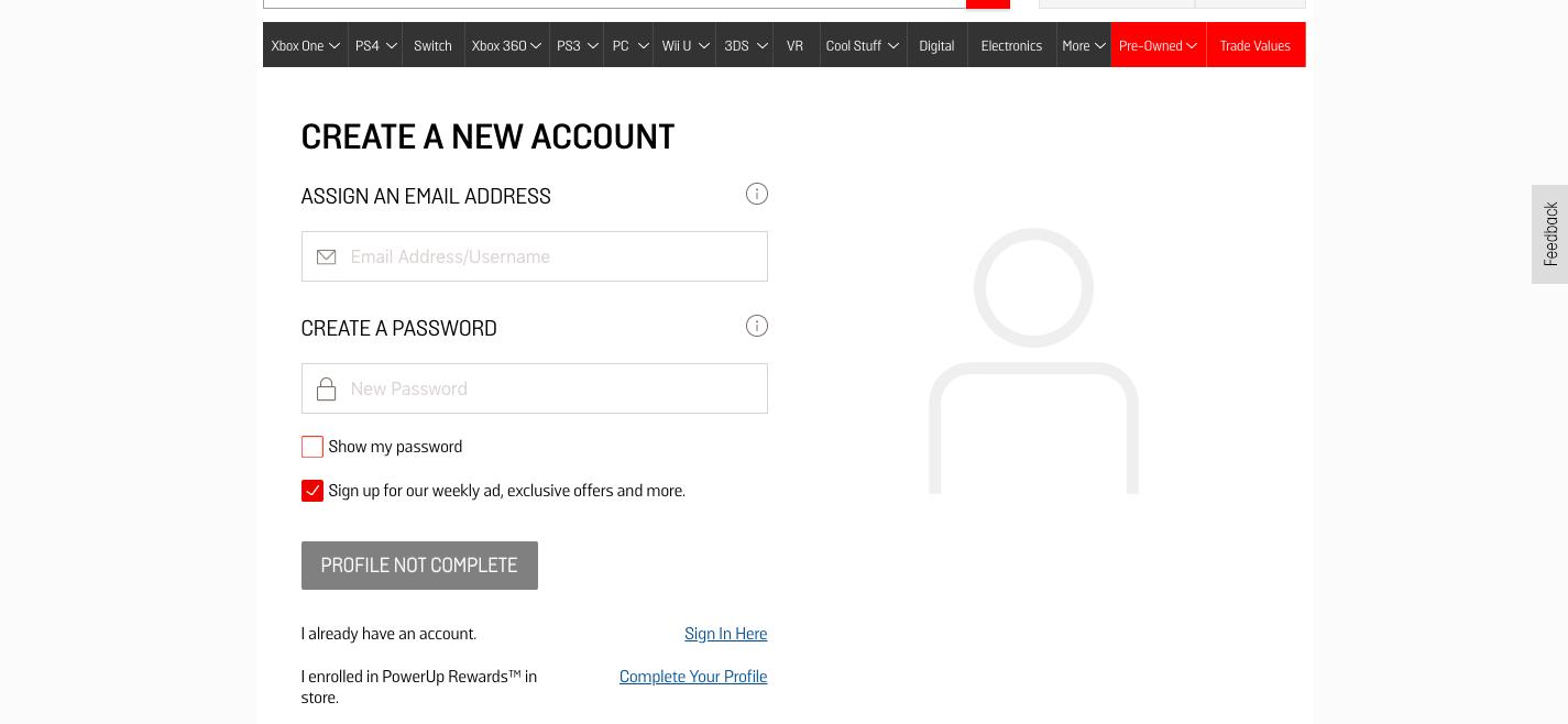 Create an Account GameStop