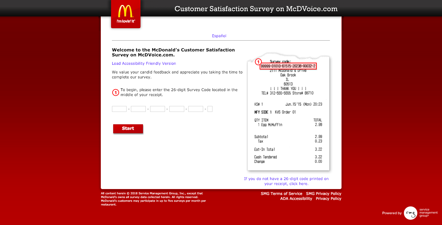 McDonald's Customer Satisfaction Survey on McDVoice com Welcome
