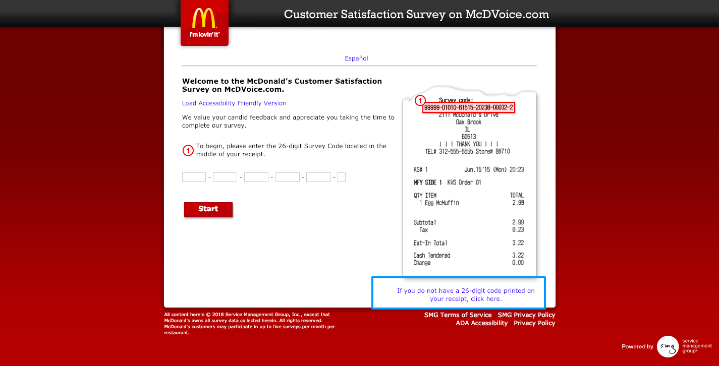 McDonald's Customer Survey on McDVoice com Welcome