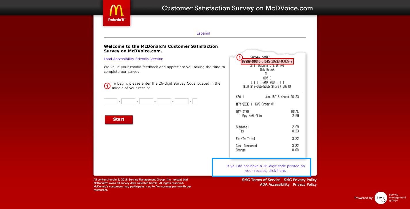 McDonald's Customer Survey on McDVoice com Welcome