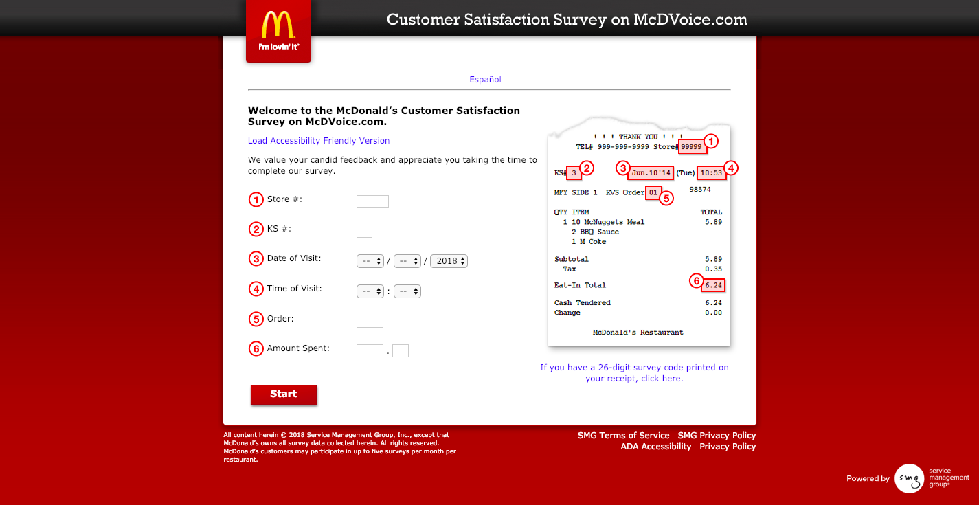 McDonald's Survey on McDVoice com Welcome