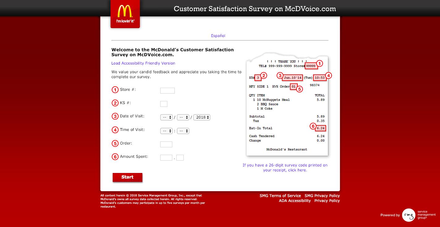 McDonald's Survey on McDVoice com Welcome
