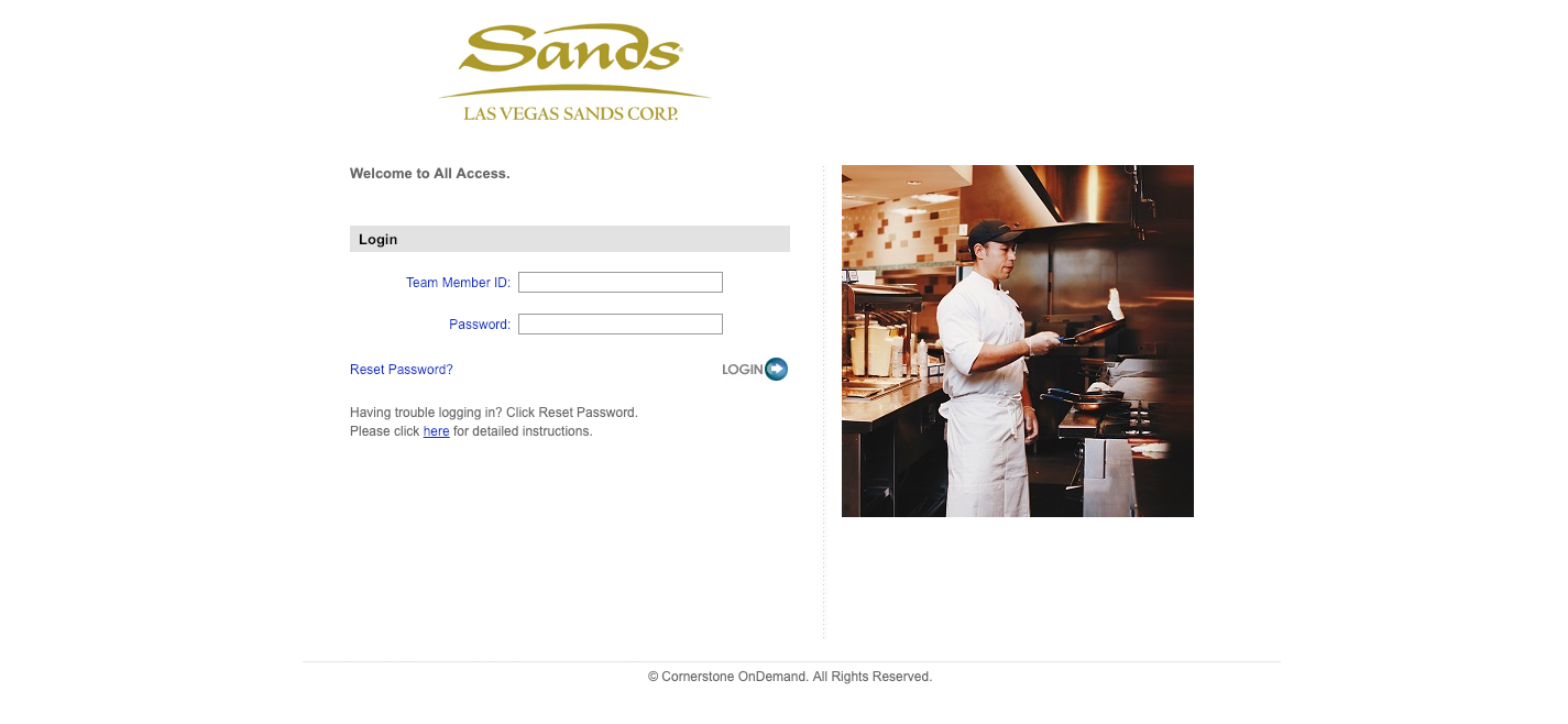 Sands All Access Portal