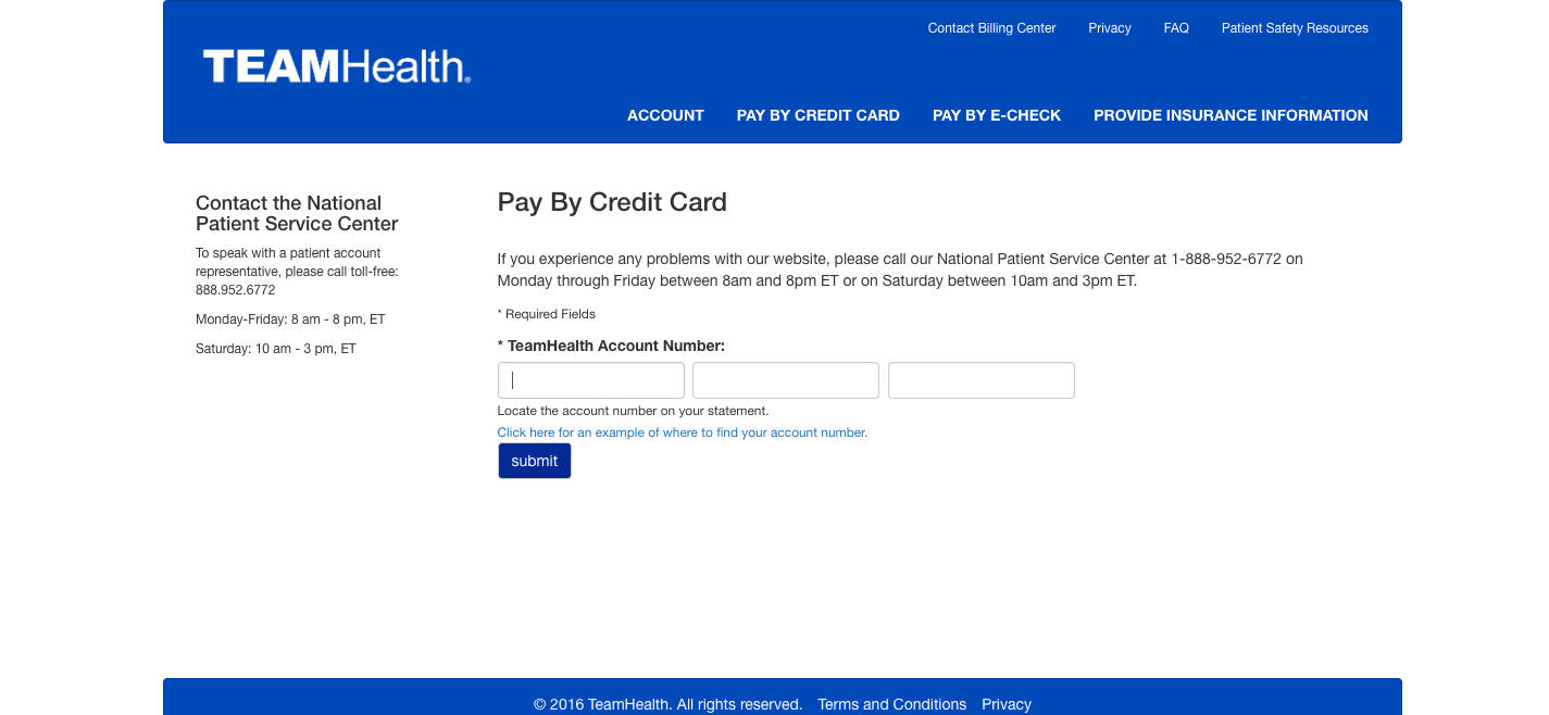 TeamHealth Pay By Credit Card