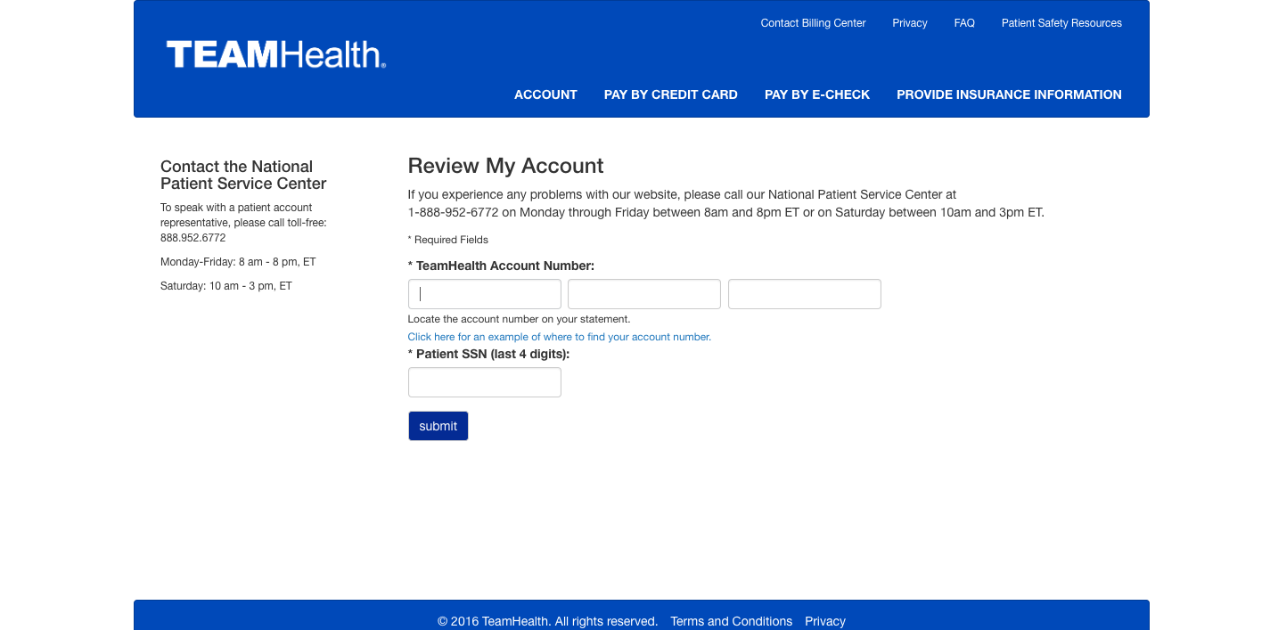 TeamHealth Review My Account