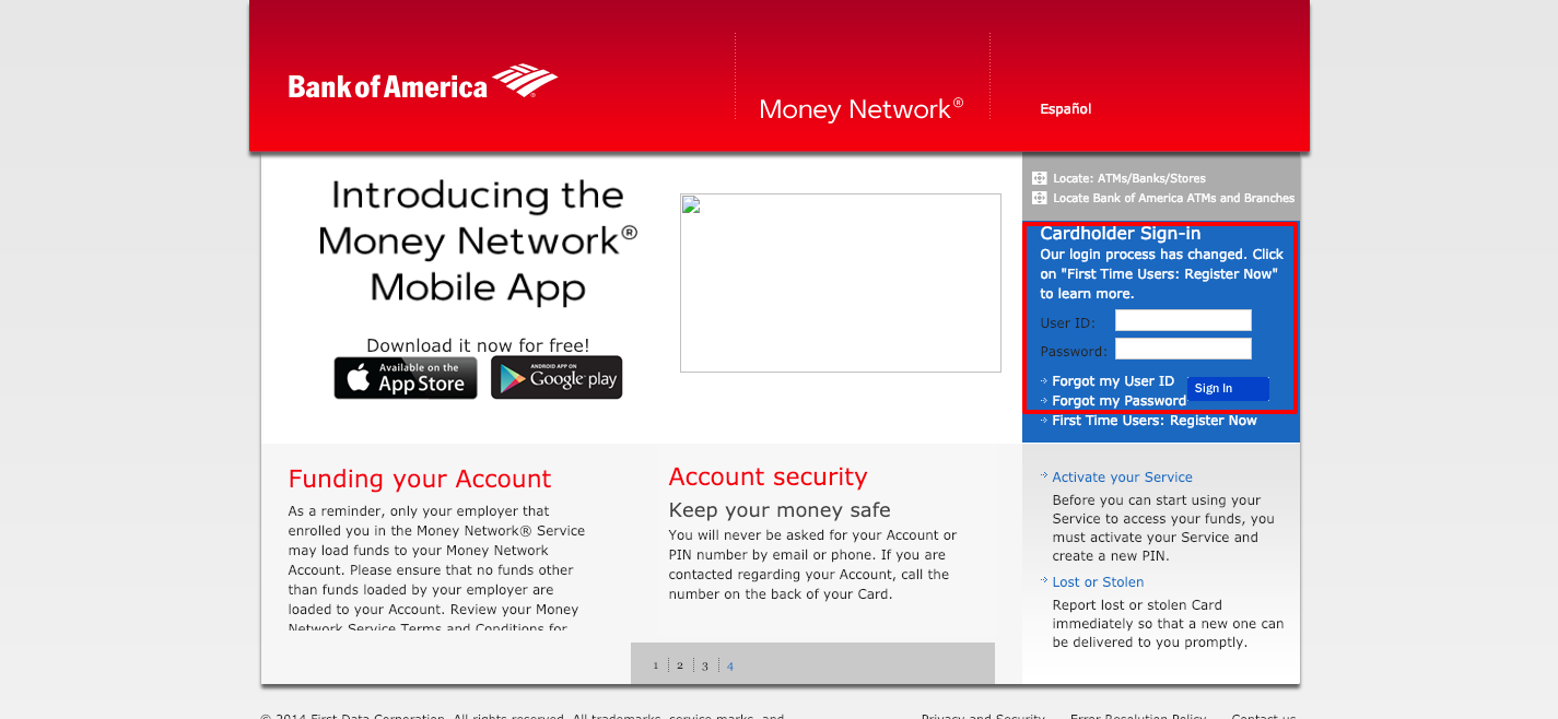 Money Network Bank of America