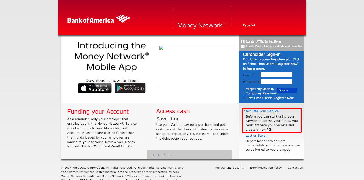 Money Network Homepage Bank of America