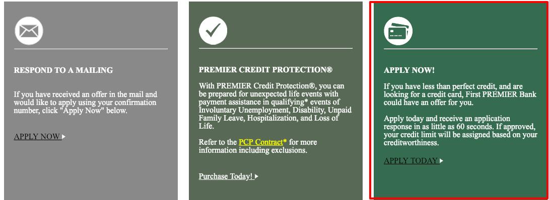 Premier Bank Card Online apply