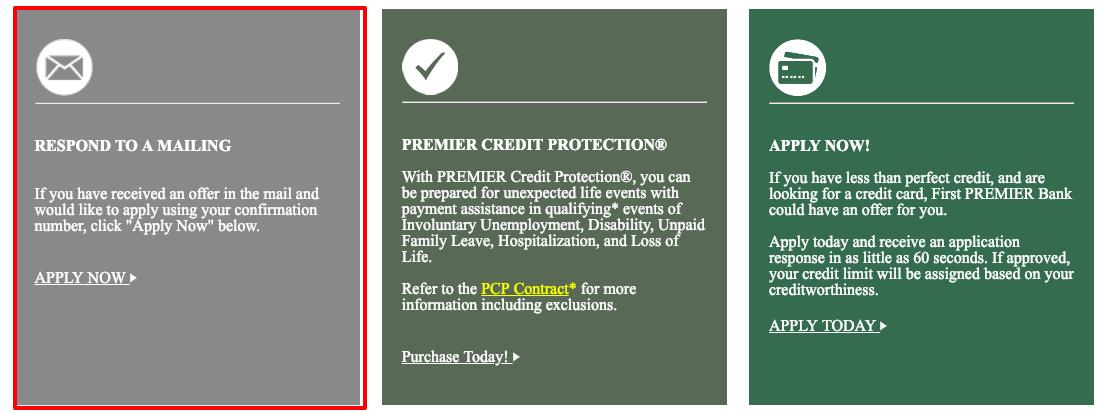 Premier Bank Card Online mail offer
