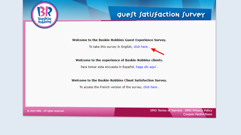Baskin Robbins Guest Experience Survey Welcome