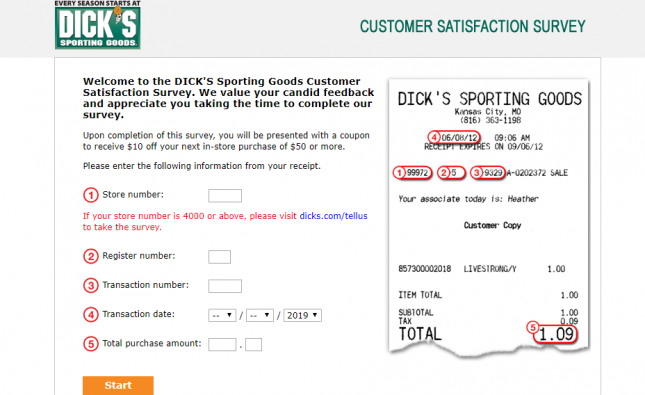 DICK S Sporting Goods Customer Satisfaction Survey Welcome
