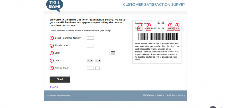 www.tellbam.smg.com – Join BAM Customer Survey To Win $5 Discount Coupon
