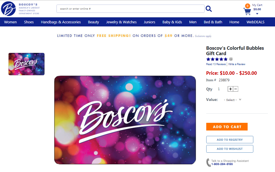 Boscov s Colorful Bubbles Gift Card