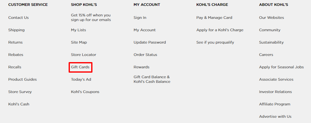 Check the Kohl's gift card balance