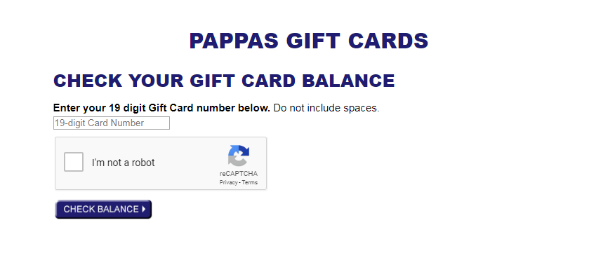 Pappas Gift Card Balance Inquiry