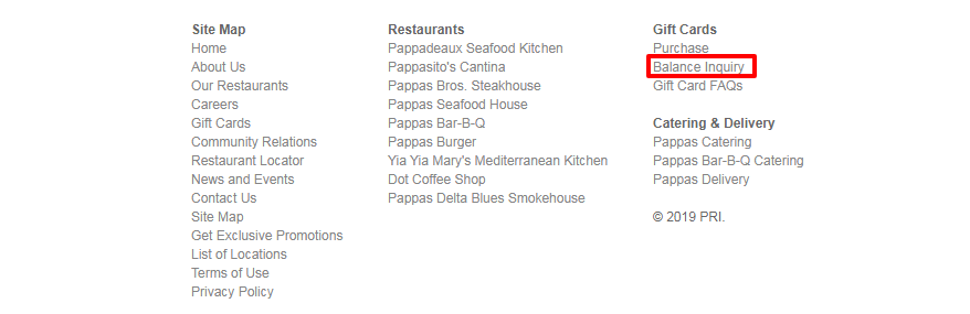 Pappas Restaurants Gift Card balance check