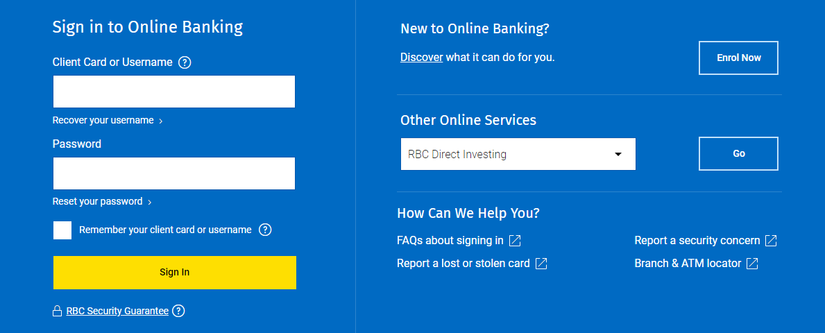 RBC Royal Bank Sign In to Online Banking