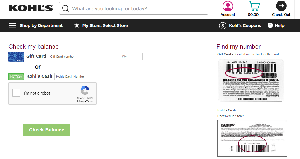 how to Check the Kohl's gift card balance online