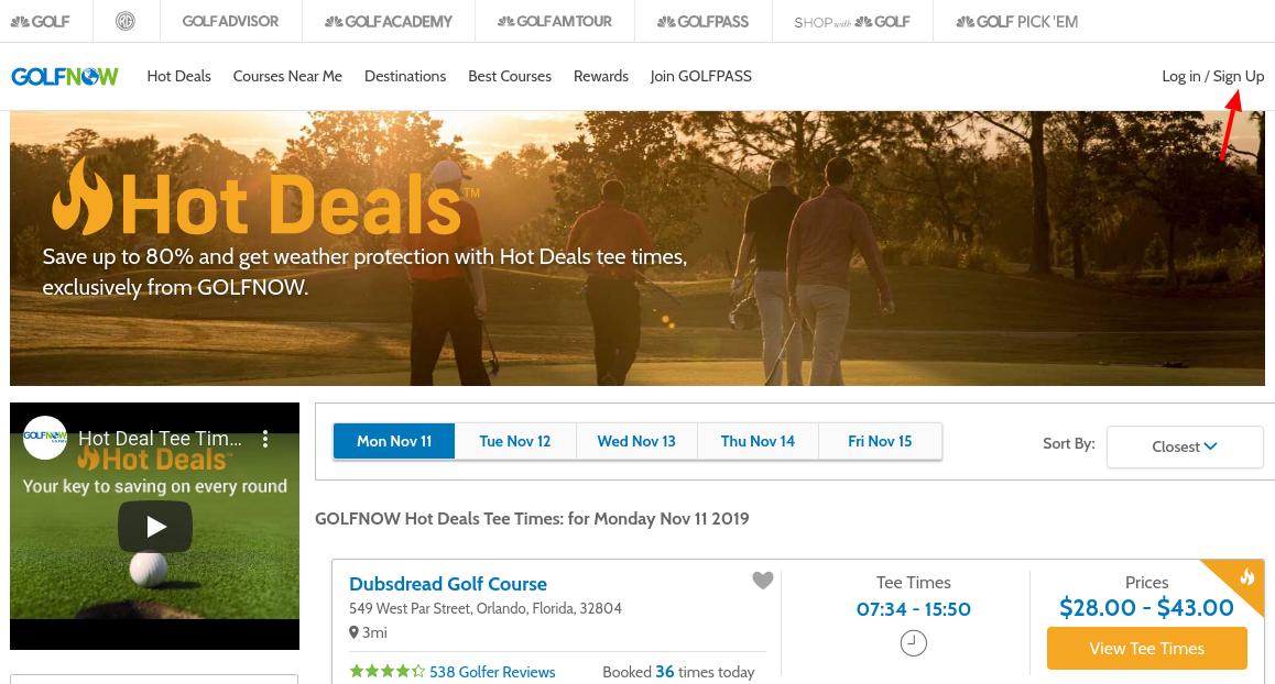 GolfNow Hot Deals Sign Up