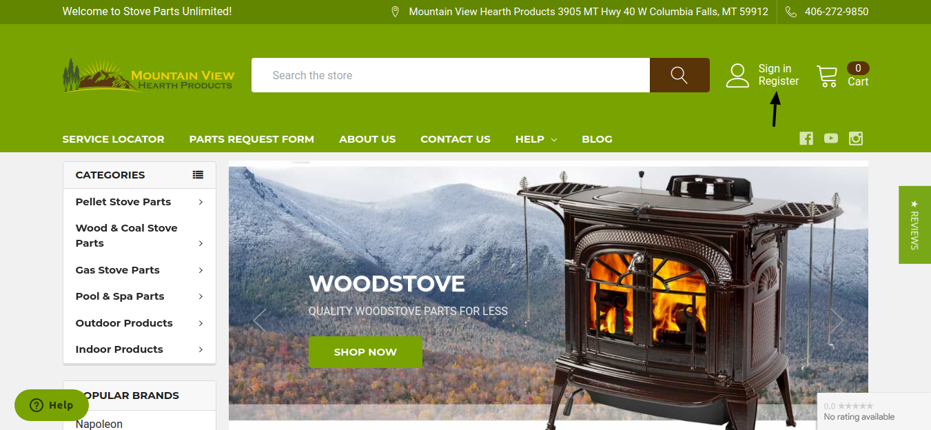 Mountain View Hearth Products Register