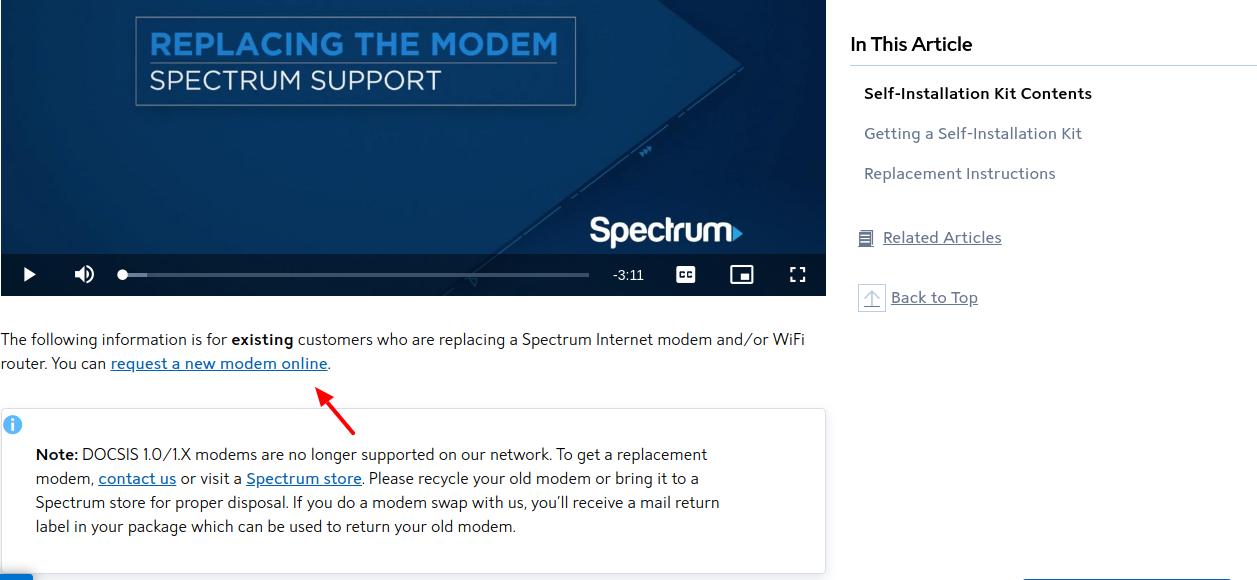 Spectrum Modem request