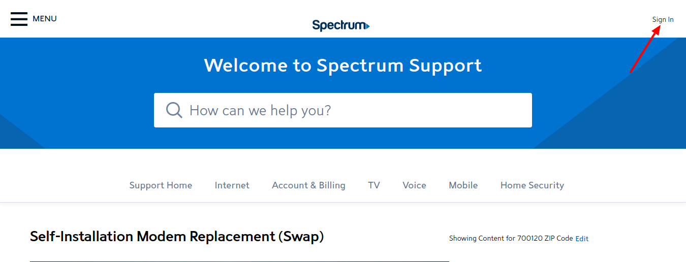 Spectrum Sign In
