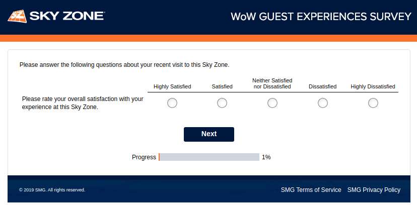 Sky Zone Guest Experience Survey