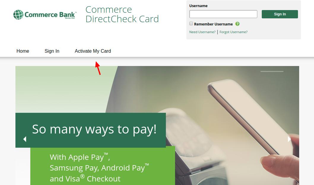 Commerce DirectCheck Card Activate