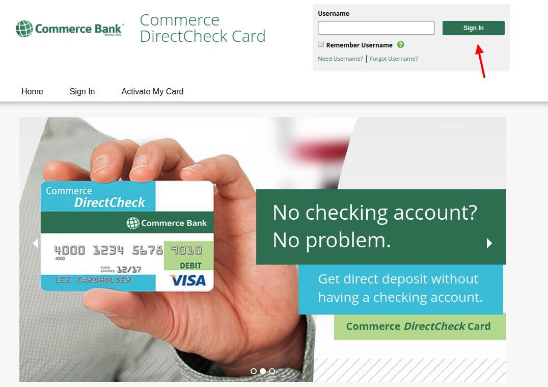 Commerce DirectCheck Card Login