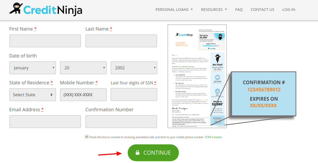 CreditNinja Application Process