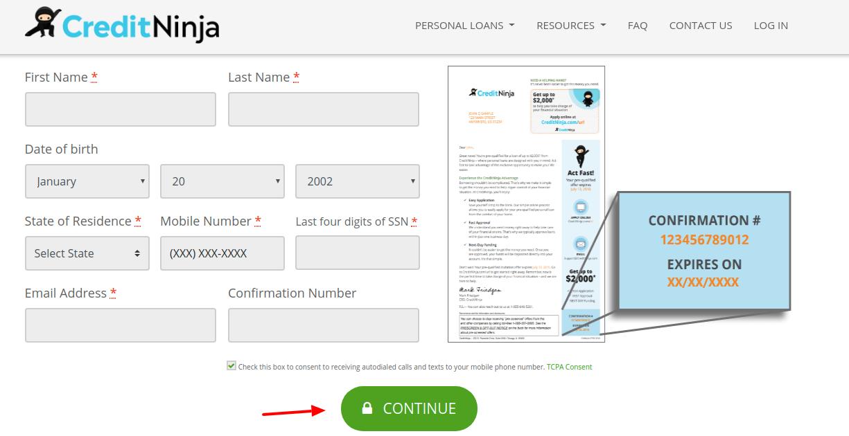 CreditNinja Application Process