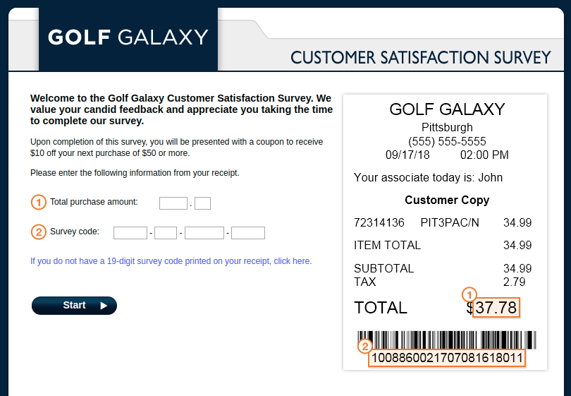 Golf Galaxy Customer Survey