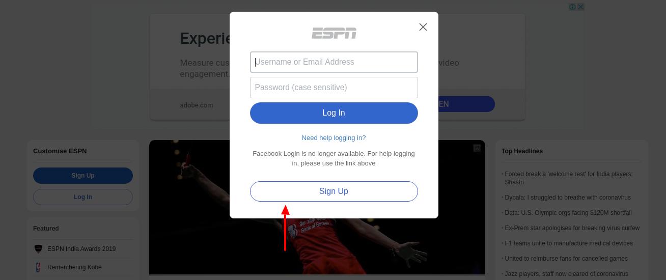 ESPN Sign Up