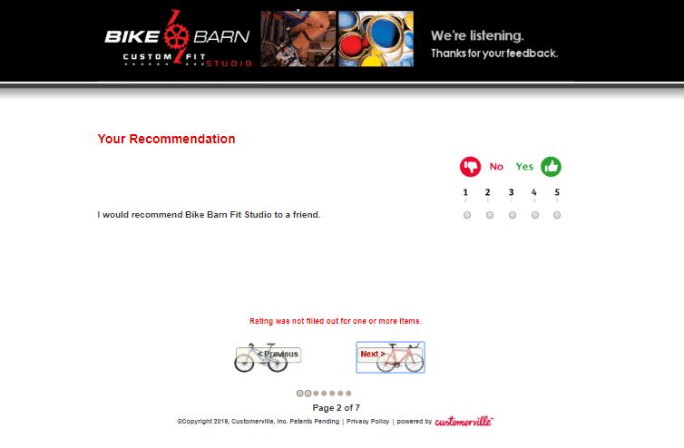 Bike Barn Fit Studio Survey