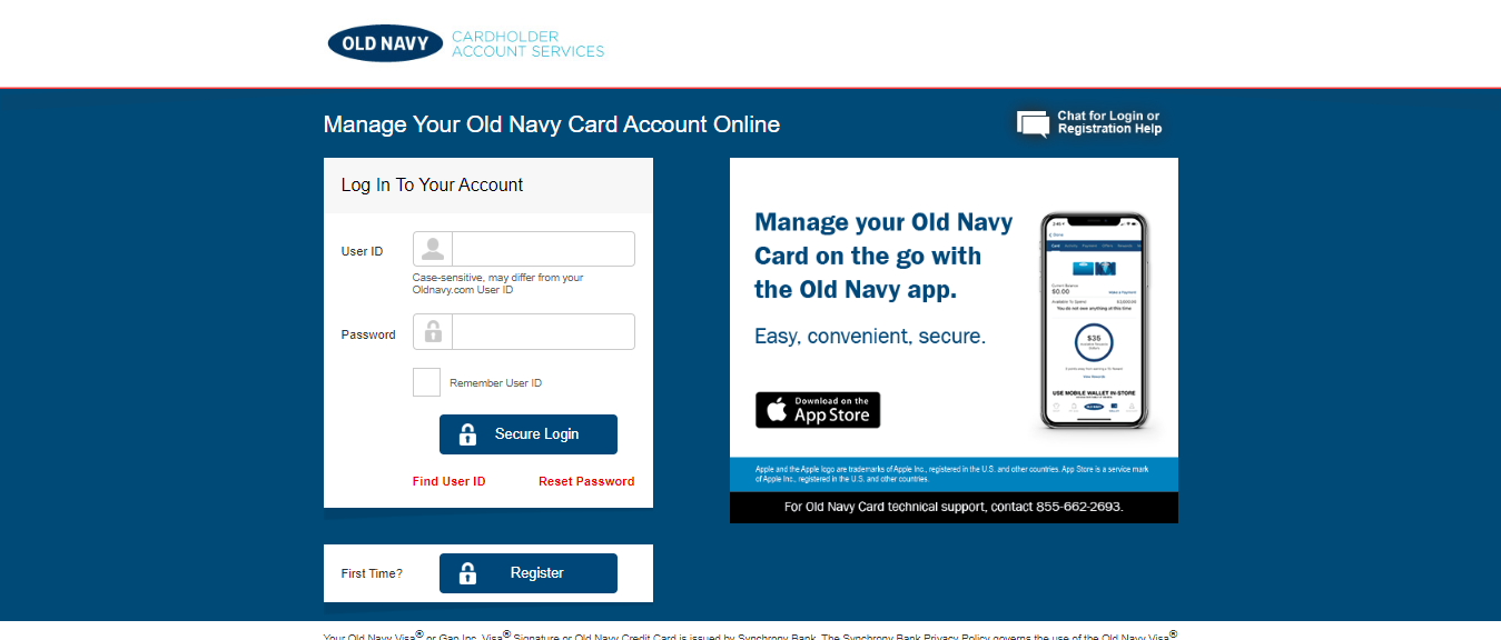 Sign Old Navy Credit Card