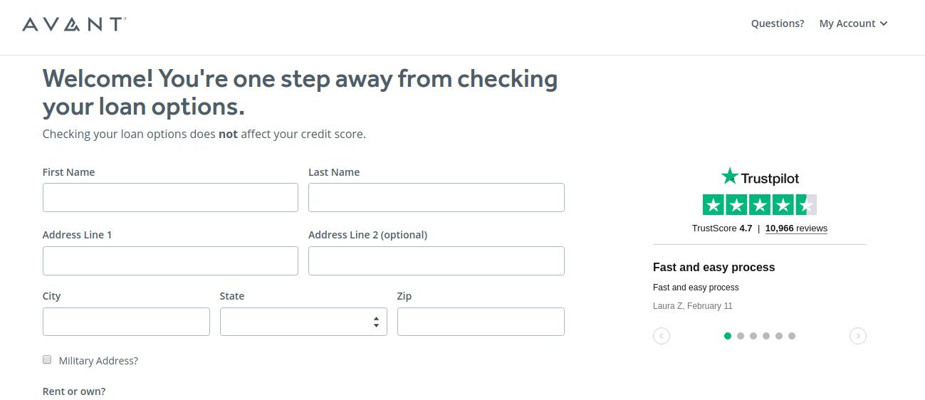 Avant Apply Loan