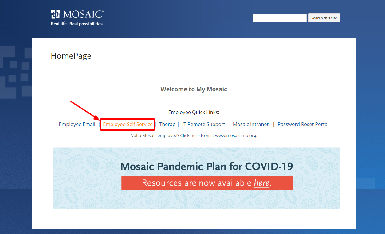 into the Mosaic Employee Portal