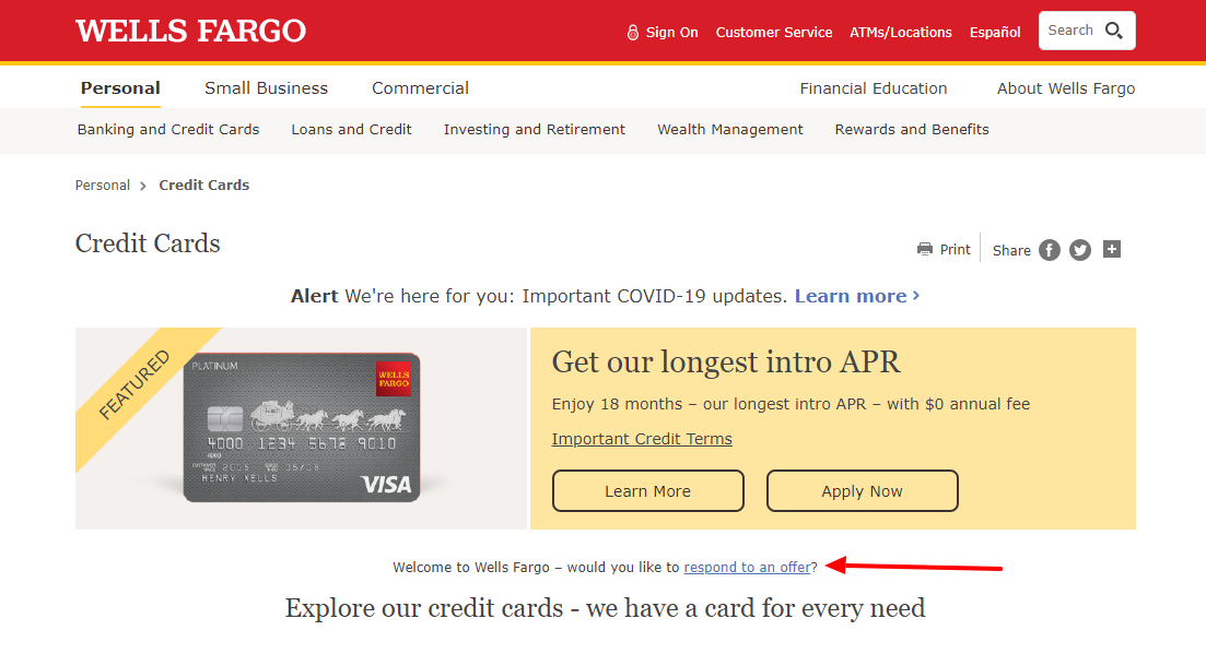Wells Fargo Credit Card Respons