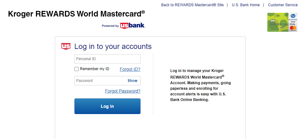 kroger master card login